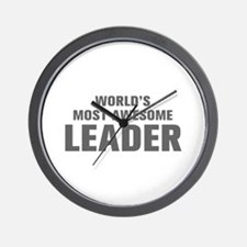 WORLDS MOST AWESOME Leader-Akz gray 500 Wall Clock