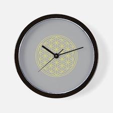 Flower of Life Yellow/Grey Wall Clock