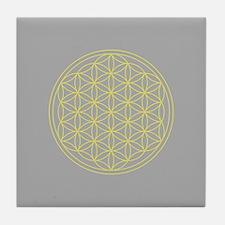 Flower of Life Yellow/Grey Tile Coaster