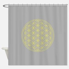 Flower of Life Yellow/Grey Shower Curtain