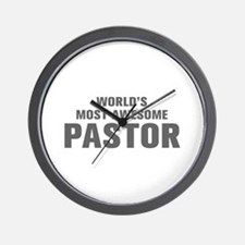 WORLDS MOST AWESOME Pastor-Akz gray 500 Wall Clock