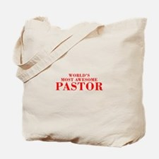 WORLDS MOST AWESOME Pastor-Bod red 300 Tote Bag