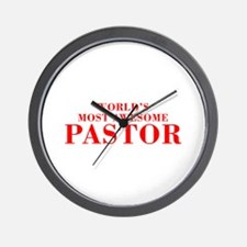 WORLDS MOST AWESOME Pastor-Bod red 300 Wall Clock