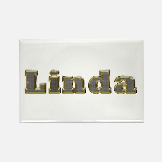 Linda Gold Diamond Bling Rectangle Magnet