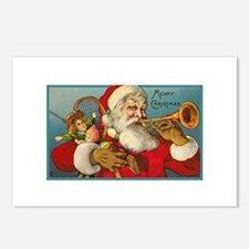 Merry Christmas Santa - Horn Playing Santa Postcar