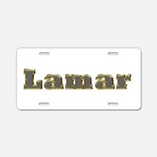 Lamar Gold Diamond Bling Aluminum License Plate