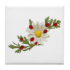 Ladybug and Flower Tile Coaster