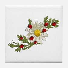 Ladybug and Flower Tile Coaster