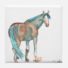 Abstract Watercolor Horse Painting Tile Coaster