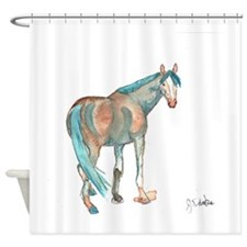 Abstract Watercolor Horse Painting Shower Curtain