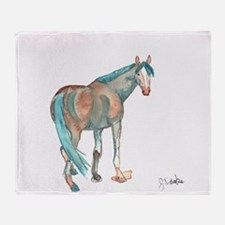 Abstract Watercolor Horse Painting Throw Blanket