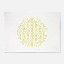 Flower Of Life Yellow 5'x7'area Rug