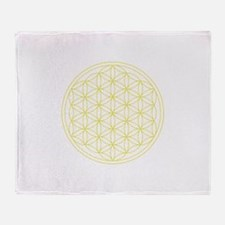 Flower Of Life Yellow Throw Blanket