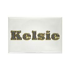 Kelsie Gold Diamond Bling Rectangle Magnet