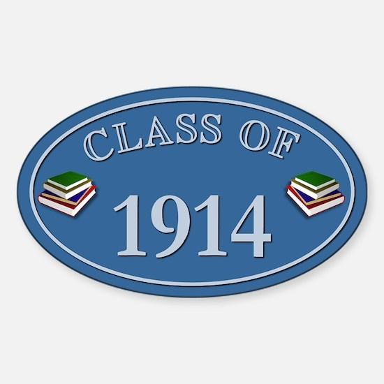 Class Of 1914 Blue Vinyl Oval Decal