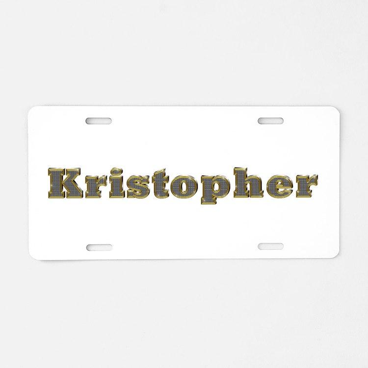 Kristopher Gold Diamond Bling Aluminum License Pla