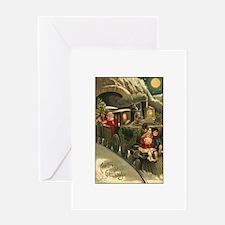 Santa's Victorian Christmas Train Greeting Card