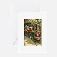 Santa's Victorian Christmas Train Greeting Cards (