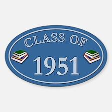 Class Of 1951 Blue Vinyl Oval Decal