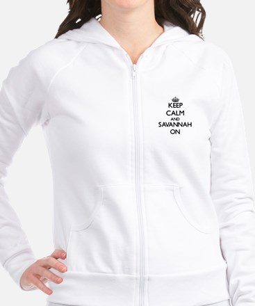 Keep Calm and Savannah ON Fitted Hoodie