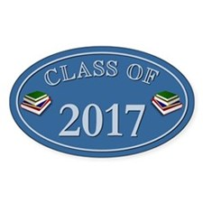 Class Of 2017 Blue Vinyl Oval Decal