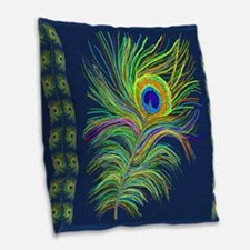 PAINTED PEACOCK FEAHER SC1 Burlap Throw Pillow