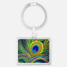 PAINTD PEACOCK FEATHER B Keychains