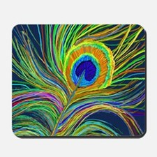 PAINTD PEACOCK FEATHER B Mousepad
