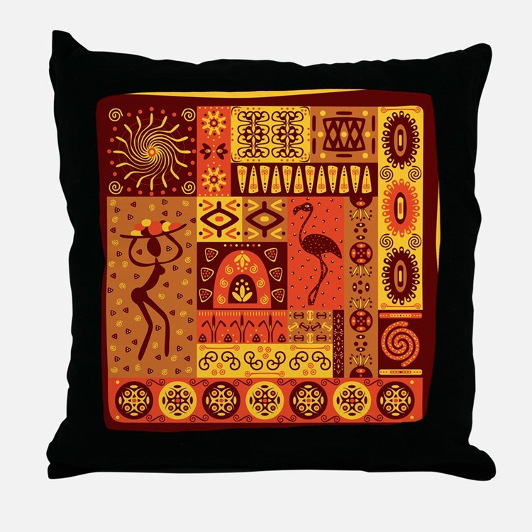 African Traditional Ornament Throw Pillow