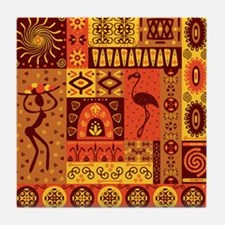 African Traditional Ornament Tile Coaster