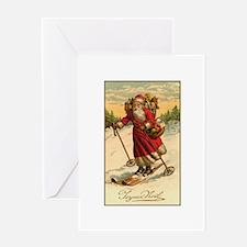 Victorian Skiing Santa Claus - Joyeux Noel Greetin