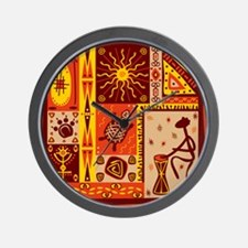 African Traditional Ornament Wall Clock