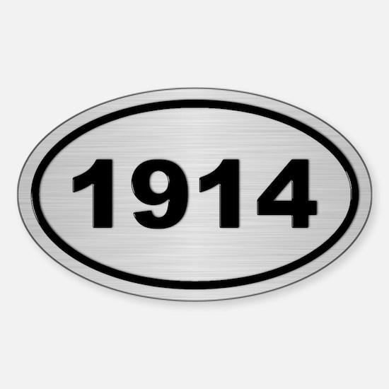 1914 Steel Grey Oval Vinyl Decal