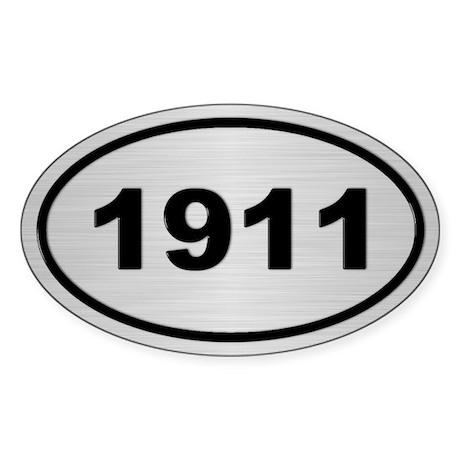1911 Steel Grey Oval Vinyl Sticker