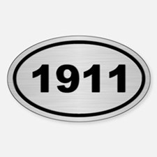 1911 Steel Grey Oval Vinyl Stickers