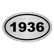 1936 Steel Grey Oval Vinyl Decal