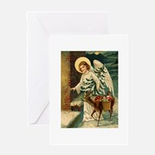 Victorian Christmas Greetings - Angel, Reindeer &