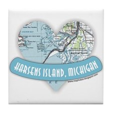 I Love Harsen's Island Tile Coaster
