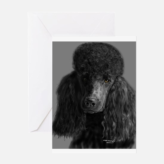 standard poodle black Greeting Cards