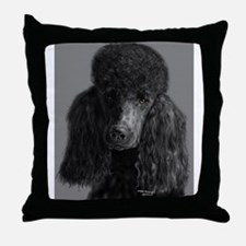 standard poodle black Throw Pillow
