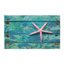 Starfish Turquoise Distressed Beach Area Rug
