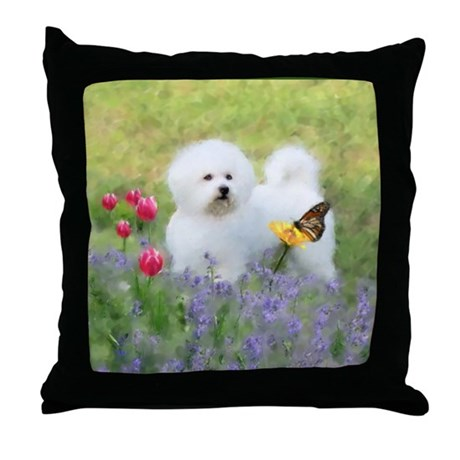 Bichon and Butterfly Throw Pillow