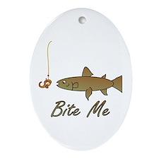 Bite Me Fish Oval Ornament