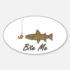 Bite Me Fish Oval Decal