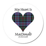 Heart-MacDonald of Clanranald Round Car Magnet