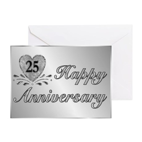 25th Anniversary - Silver Greeting Cards (Pk of 10