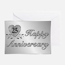25th Anniversary - Silver Greeting Card