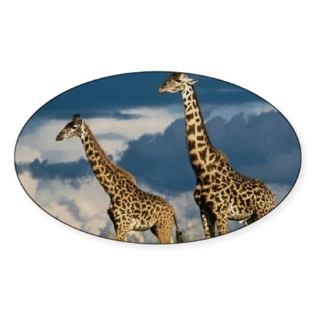 Giraffe Oval Sticker
