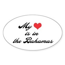 My Heart is in the Bahamas Oval Decal