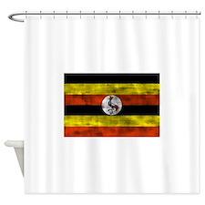 Distressed Uganda Flag Shower Curtain